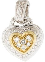 Judith Ripka Two-Tone Diamond Heart Enhancer Pendant
