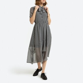La Redoute Collections Checked Midi Dress with Pussy-Bow and Short Sleeves