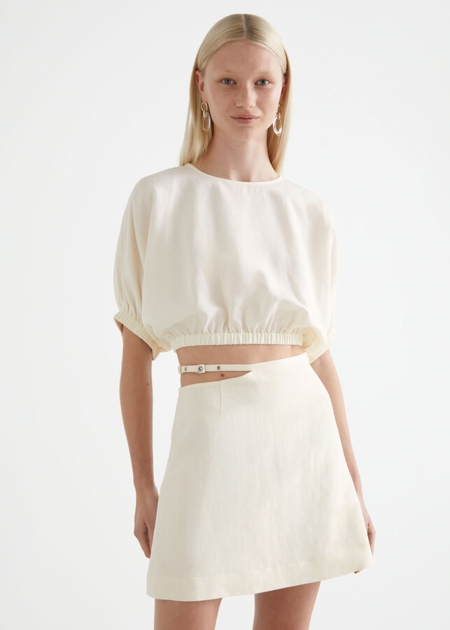 And other stories Linen Blend Cut Out Mini Skirt