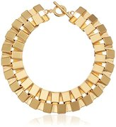 "Trina Turk Retro Sport"" Large Square Link Collar Gold Necklace, 19"""