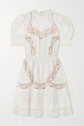 MICHAEL Michael Kors Crochet-trimmed Embroidered Hemp Mini Dress - White