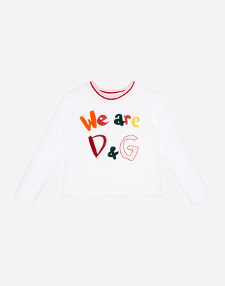 Dolce & Gabbana Long-Sleeved Jersey T-Shirt With Patch Embellishment