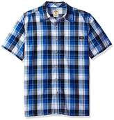 Dickies Men's Relaxed Fit Short Sleeve Square Bottom Plaid Shirt
