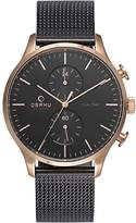 Obaku Men's V196GUVBMB Casual Classic Dual Time Watch with 3 Hands