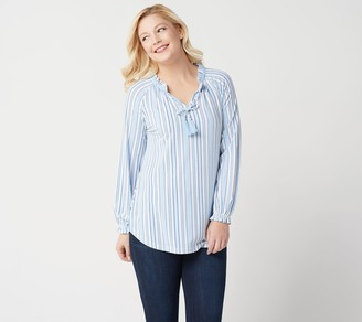 Isaac Mizrahi Live! TRUE DENIM Stripes Split-Neck Knit Tunic