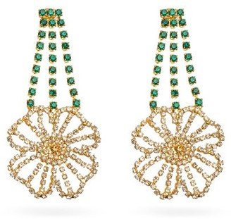 Rosantica Briscola Floral Crystal-embellished Drop Earrings - Gold Multi