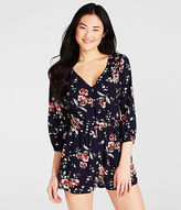 Aeropostale Womens Cape Juby Floral Romper Blue