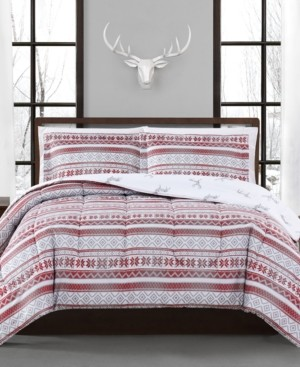 Pem America Holiday Fair Isle 3-Pc. Reversible Full/Queen Comforter Set, Created for Macy's Bedding