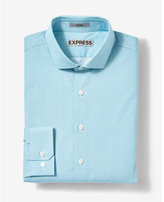 Express fitted small print cotton dress shirt