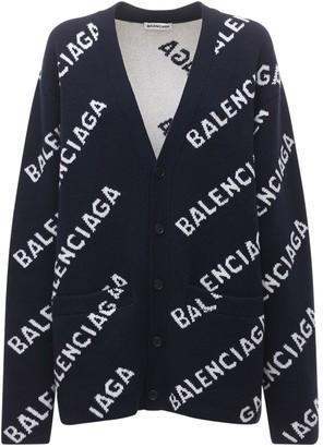 Balenciaga Logo Wool Knit Cardigan