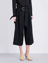 Sharon Wauchob Ruched wide high-rise wool and silk-blend trousers
