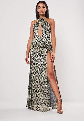 Missguided Black Baroque Chiffon Split Leg Maxi Dress