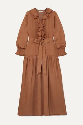 DÔEN Marine Belted Ruffled Ramie Maxi Dress - Antique rose