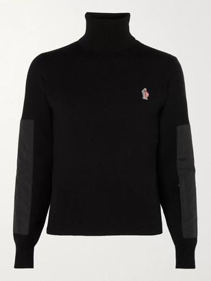 MONCLER GRENOBLE Logo-Appliqued Padded Shell-Trimmed Ribbed Wool-Blend Roll-Neck Sweater