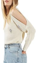 Topshop Women's Embellished Cold Shoulder Sweater