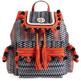 Tory Burch Scout Pompom Nylon Backpack - Blue/green