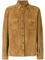 Saint Laurent Men's Brown Leather Shirt.