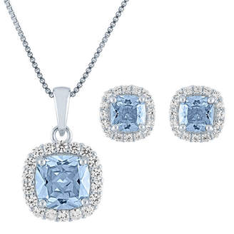 Fine Jewelry Simulated Blue Aquamarine Sterling Silver 2-pc. Jewelry Set