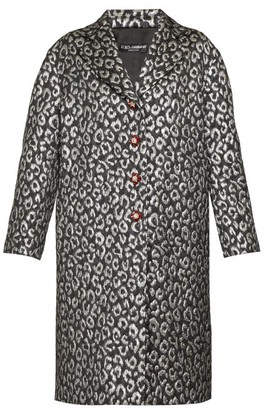 Dolce & Gabbana Crystal-button Leopard-jacquard Cocoon Coat - Womens - Silver Multi
