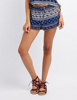 Charlotte Russe Paisley Lace-Up Shorts