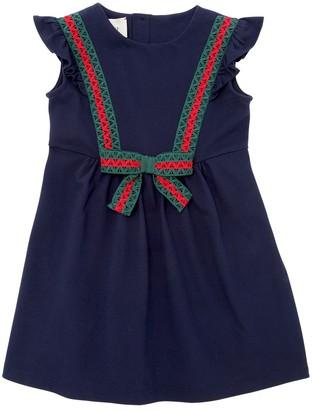 Gucci Cotton Pique Dress W/ Web Lace Details