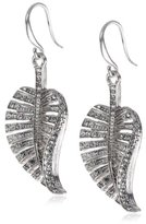 Pilgrim Silver Plated Drop Earrings with Feather Pendant and Clear Crystal Stones 151146113