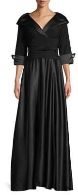 Eliza J Three-Quarter Sleeve Fit-&-Flare Gown