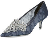 Rene Caovilla Crystal Lace 50mm Pump, Navy