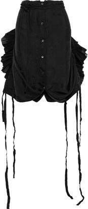 Ann Demeulemeester Asymmetric Pleated Gauze-trimmed Cupro-jacquard Skirt