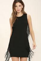 LuLu*s Macrame Hey Black Fringe Dress
