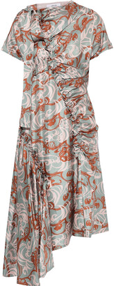 ADEAM Asymmetric Bow-detailed Printed Silk-twill Dress