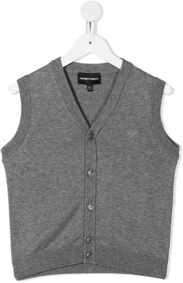 Emporio Armani Kids Sleeveless V-Neck Cardigan