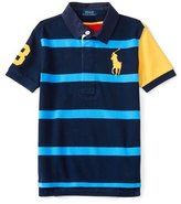 Ralph Lauren Short-Sleeve Striped Mesh Rugby Shirt, Red/Blue, Size 2-7