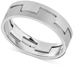 Proposition Love Unisex Interlock Matte Wedding Band in 14k White Gold