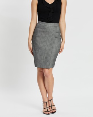 Forcast Jill Check Pencil Skirt