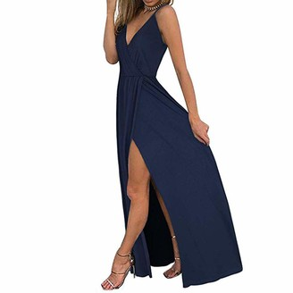 7Lucky Women Off Shoulder Dress Sexy V-Neck Camisole Dress Flowy Swing Hem Skirt Ladies Elegant Cocktail Party Maxi Dress Holiday Beach Dresses (S