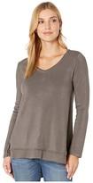 True Grit Dylan By Dylan by Minky Cotton Ultra Soft Fleece Long Sleeve Asymmetrical V-Neck (Carbon) Women's Clothing