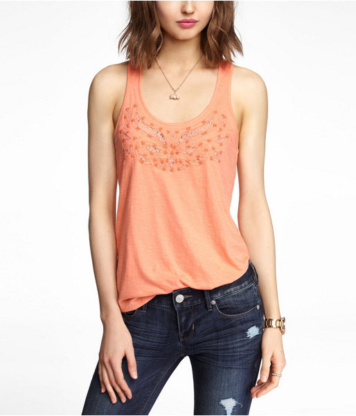 Express Cut-Out Bead And Lace Embellished Tank