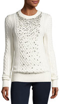 MICHAEL Michael Kors Embellished Cable-Knit Crewneck Sweater, Ecru