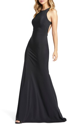 Mac Duggal Bow Back Crepe Trumpet Gown