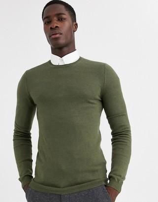 Asos Design DESIGN muscle fit merino wool sweater in khaki-Green