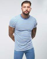 Hype T-shirt In Blue Stripes With Sleeve Patch