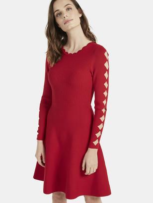 Milly Scallop Fit & Flare Knit Mini Dress