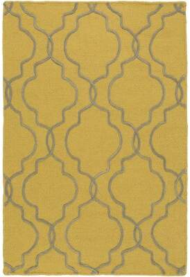 Amenia Geometric Handmade Knotted Wool Mustard Area Rug Darby Home Co