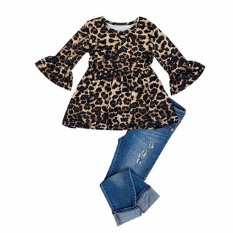 DFVVR Toddler Baby Kids Girls Leopard Print T-Shirt Tops Jeans Pant Trousers Set Baby Clothes Gift Christmas Brown