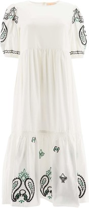 Tory Burch EMBROIDERED MIDI DRESS M White, Black, Green Cotton
