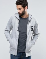 ONLY & SONS Zip Through Hoodie with Chest Embroidery