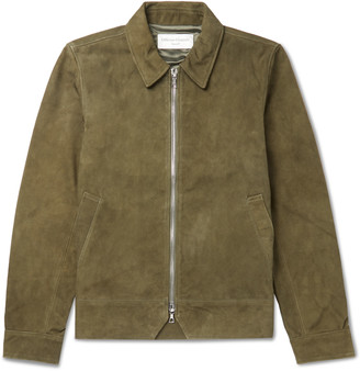 Officine Generale Rod Slim-Fit Suede Blouson Jacket - Men - Green