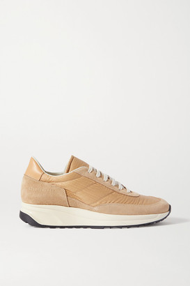 Common Projects Track Classic Leather-trimmed Suede And Ripstop Sneakers - Tan