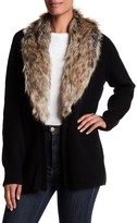 Joie Evina Wool & Cashmere Cardigan with Faux Fur Collar